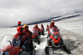 Snowmobile tour on a glacier in Iceland — Stock Photo