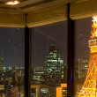View on Tokyo by night through windows — Stock Photo