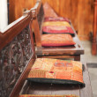 Wooden benches with cushions in synagogue — Lizenzfreies Foto