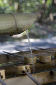 Bamboo water sink at Shinto shrine — Stock Photo