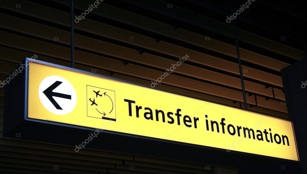 Airport sign with Transfer information — Stock Photo #9887715