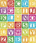 Blocos de bebê vector conjunto 1 de 3 - alfabeto de letras maiúsculas — Vetorial Stock