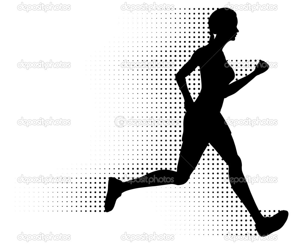 Silhouette of a healthy woman running at great speed with an abstract halftone trail following behind her. Black and white illustration (gradient free). — Stock Vector #8417664