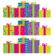 Colorful gift boxes with ribbons & bows. — Vector de stock #8554566
