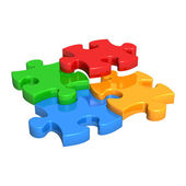 Puzzle Pieces Falling into Place — Stock Photo