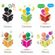 Vector Study Together Icons Set - Imagen vectorial