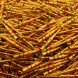 Stock Photo: Golden plated electrical pins. Background