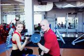 Kobieta i mężczyzna na szkolenia — Zdjęcie stockowe