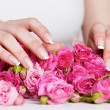 Stock Photo: Manicure on roses