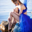 Girl in fantasy blue dress — Stock Photo