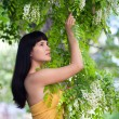 Stock Photo: Girl near blossom acacia tree