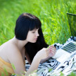 Girl with laptop in the park — Stock Photo #10539751