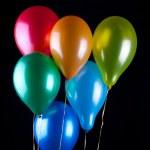 Six balloons on black — Stock Photo #8834862