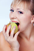 Bride with apple — Stock Photo