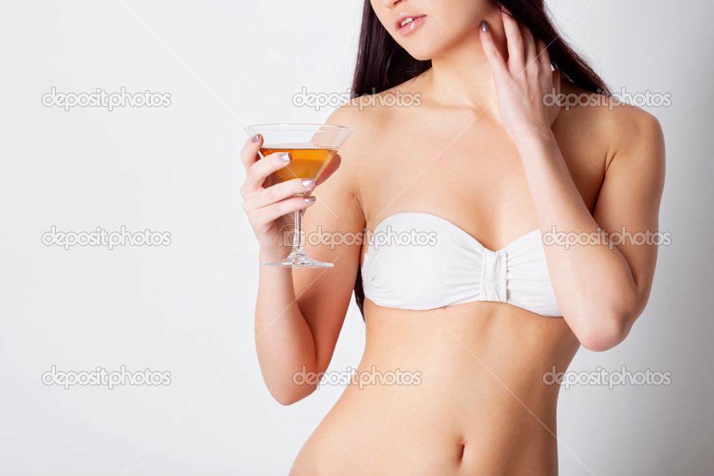 Girl drinking wine in studio  Stock Photo #9074851