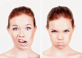 Girl face emotions — Stock Photo