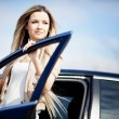 Beauriful car driver — Stock Photo