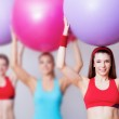 Girls with fitballs — Stock Photo