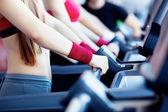 Girls in fitness center — Stock Photo