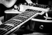 Black and White shot of a Sunburst Electric Guitar — Stock Photo