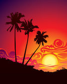 Tropical sunset — Vector de stock