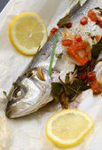 Baked sea bass — Stock Photo