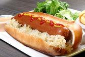 Cachorro-quente com mostarda — Fotografia Stock