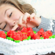 Young girl with cake — Stock Photo #8883879