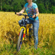 Beautiful smiling girl on bicycle near the field — Stock Photo #8883985