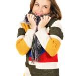 Beautiful smiling girl in warm colorful sweater — Stock Photo #8883992