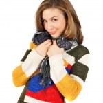 Beautiful smiling girl in beautiful warm colorful sweater — Stock Photo #8884002