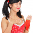 Beauty girl with red pepper — Stock Photo #8884039