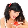 Beauty girl with red flower — Stock Photo #8884044
