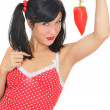 Beauty girl with red pepper — Stock Photo