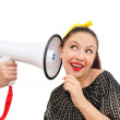 Interested woman with megaphone — Stock Photo #8884374