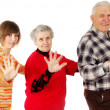 Happy grandparents and granddaughter play the fool — Stock Photo #8884814
