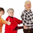 Happy grandparents and granddaughter play the fool — Stock Photo