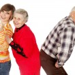 Happy grandparents and granddaughter play fool — Stock Photo