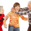Stock Photo: Happy grandparents and granddaughter play