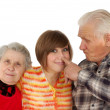 Happy grandparents and granddaughter — Stock Photo #8884830
