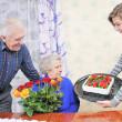 Foto Stock: Birthday grandmother