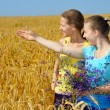 Two pretty girls in excitement of sight on golden field — Foto Stock #8884890