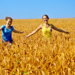 Two beautiful smiling girls walk through golden field — Stock Photo #8884906