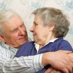 Happy 70s men embrace her whife — Stock Photo #8885023