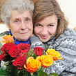 Granddaughter with grandmother — Stock Photo #8885053