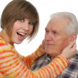 Stock Photo: Happy grandad and granddaughter