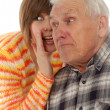 Grandad and granddaughter gossiping — Stock Photo