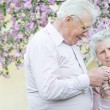 Pretty old pair hold in hands flower — Stock Photo