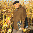 Pensive grandfather in field — Stock Photo #8886424
