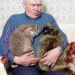 Stock Photo: Elderly man with animal